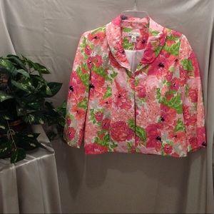 Kim Rogers Floral Linen Blazer